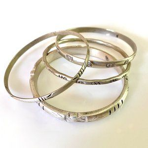 4 Moroccan Silver Patterned Bracelets